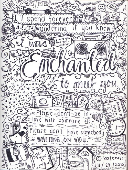 Enchanted - I love this sketch to a song, Sutch a cute idea especially if it's a song that you are listening to over and over again!