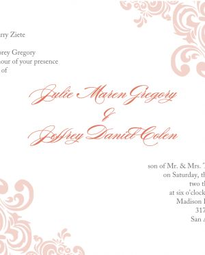 Beautiful Pink Floral Pattern White Background Couple Free Printable Wedding Invitations Templates