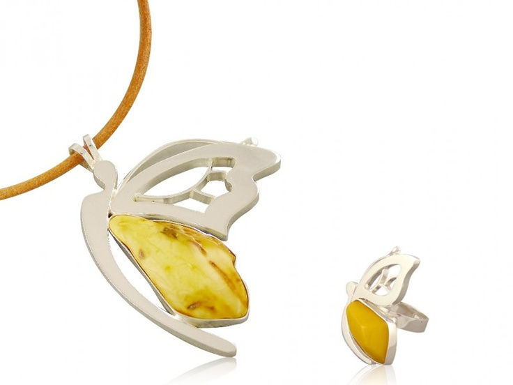 Silver art - handmade jewellery set with amber - butterfly