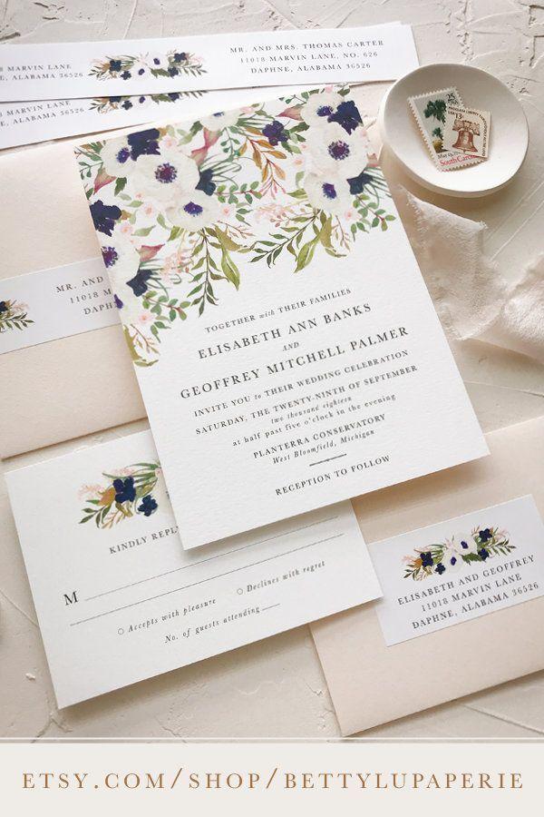 Garden Wedding Invitation Wedding Invitation Navy Floral Pink Blush Discount Wedding Invitations Traditional Wedding Invitations Cheap Wedding Invitations