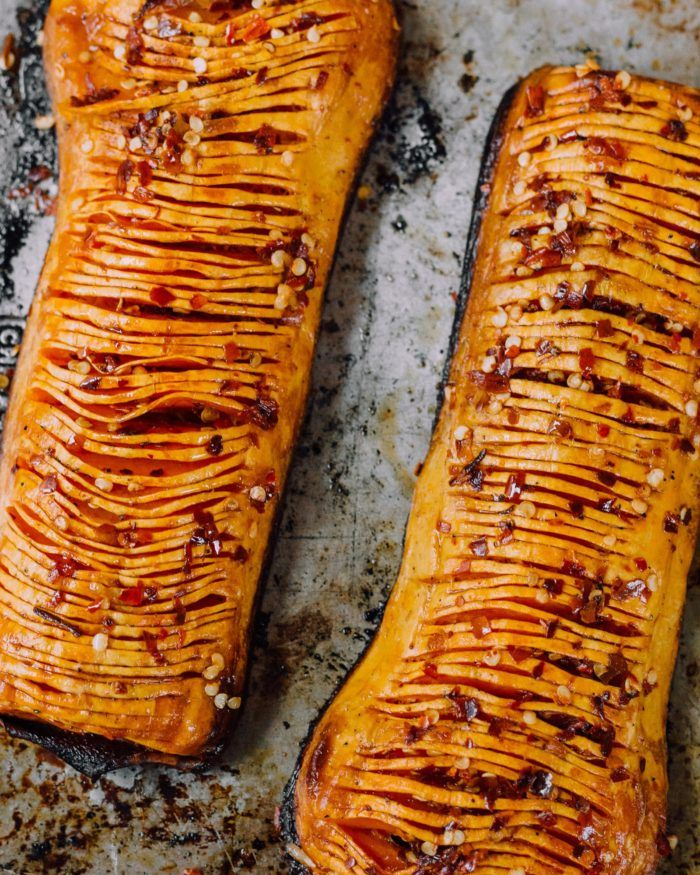 Can't get enough of this dish right now - Calabrian Chili Butter Hasselback Butternut Squash it's a mouthful both the name and the dish but so good  Food styling by me and pretty pic by pretty @danielabistrain