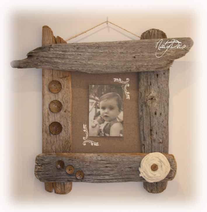 cadre photo en bois flotté http://www.natydecocorse.com