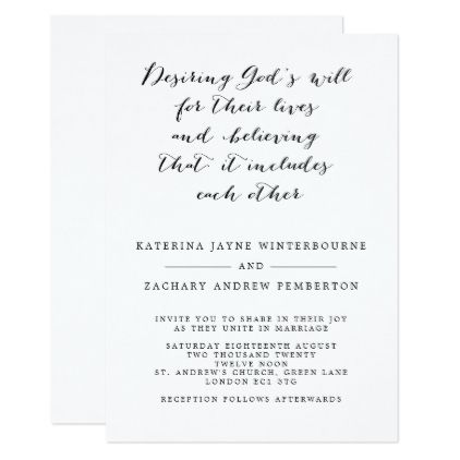 Classic Christian Monochrome Script Wedding Invitation Zazzle