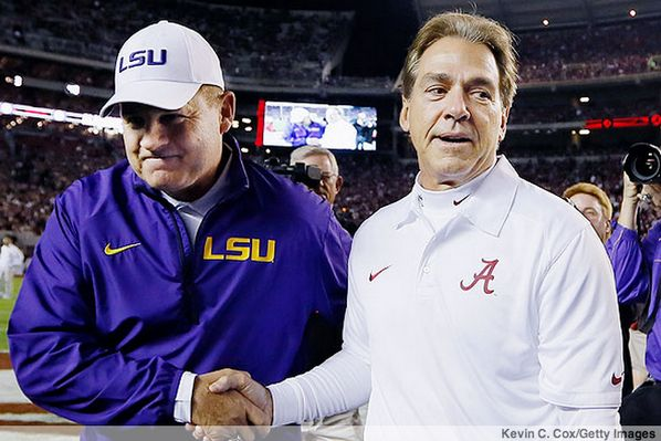 Coach Les Miles and Coach Nick Saban. ~ Check this out too ~ RollTideWarEagle.com sports stories that inform and entertain. Plus Train Deck FREE online football tutorial to learn the rules of the game you love, #Collegefootball #LSU #Alabama #GeauxTigers #RollTide