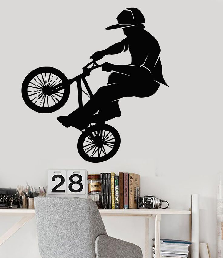 Vinyl Wall Decal Bike BMX Biker Teenager Room Extreme Sports Stickers (015ig)