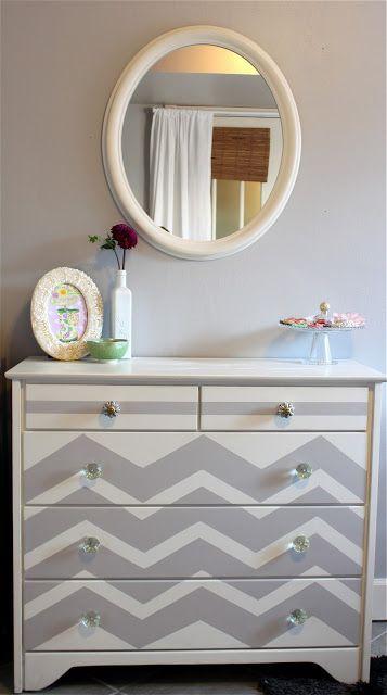 chevrons and new knobs make a plain jane dresser fabulous!