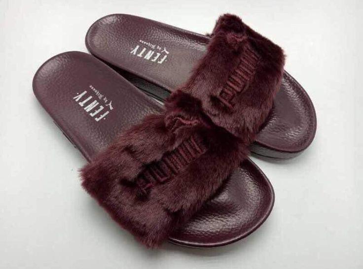 Puma Fenty Fur Slides by Rihanna in burgundy.