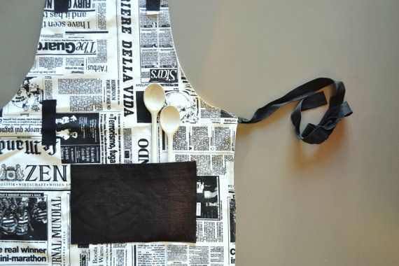 full apron in black and white newspaper print cotton - newspaper print - black straps - fully lined - perfect neutral foodie gift