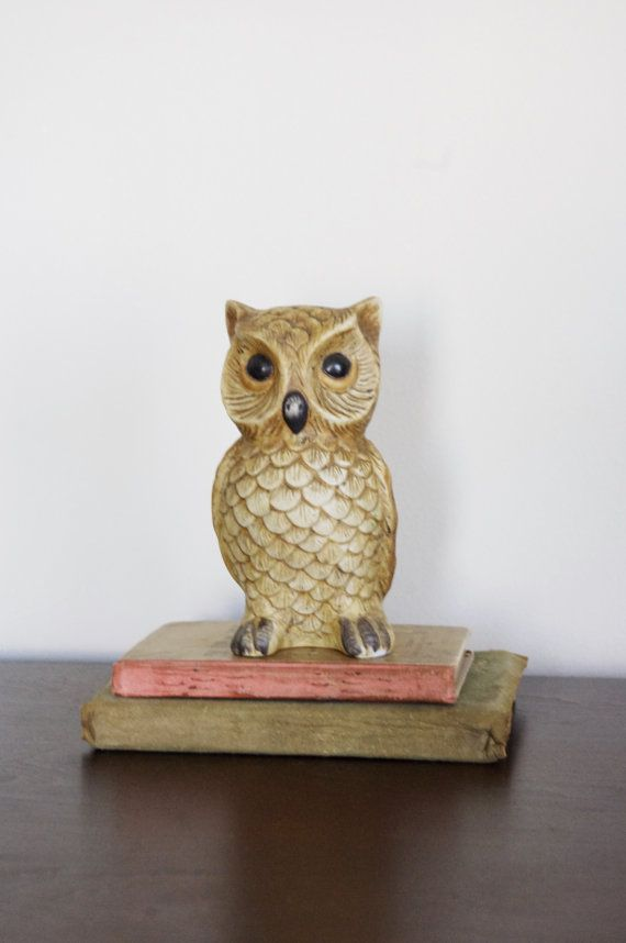 Vintage Ceramic Owl Home Decor Brown And White