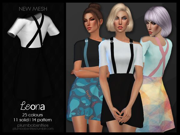 PnF Leona outfit by Plumbobs n Fries at TSR • Sims 4 Updates
