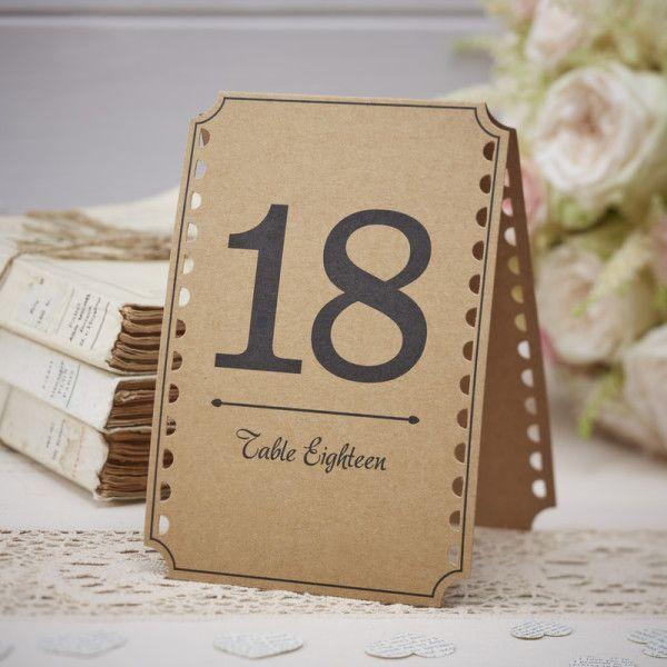 Numéros de table en kraft de 13 à 24 – Mariage Vintage – Décoration table