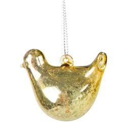 Gold Gilded Bird Shaped Christmas Tree Bauble
