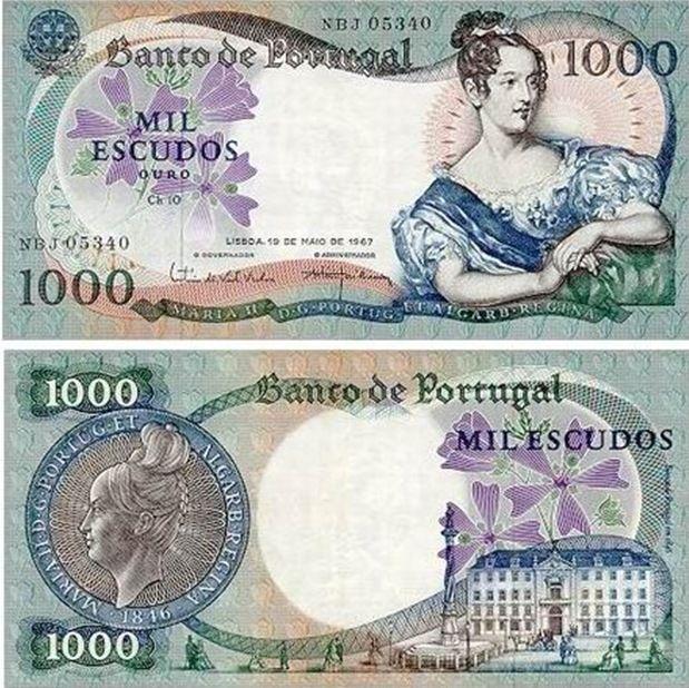 Portugal - 1000 escudos – D. Maria II Entrada em circulação: 05-06-1967 Retirada de circulação: 30-01-1987