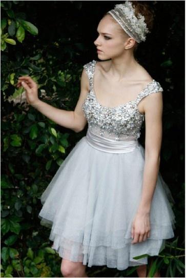 Alice Short Pattern Light Gray Female Wedding Dress 80259