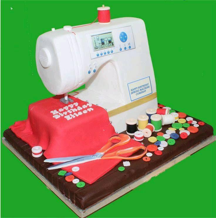 Decoracion de tortas maquina de coser en porcelana fria, masa flexible, pasta francesa