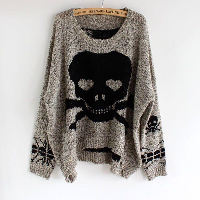 Punk Skull Batwing Knit Loose Pullover