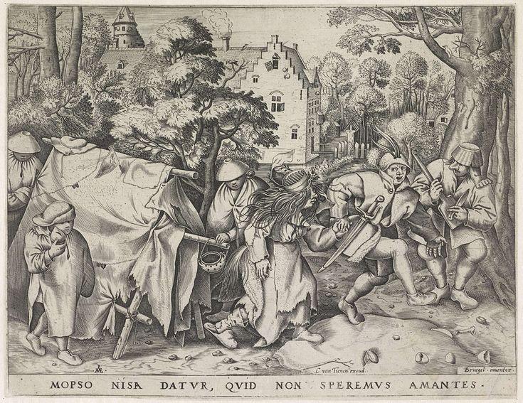 Pieter van der Heyden | Vuile bruid of de bruiloft van Mopsus en Nisa, Pieter van der Heyden, Cornelis van Tienen, 1570 | Mopsus, de bruidegom met veren op zijn hoed, haalt zijn slonzige bruid Nisa al dansend op bij een haveloze tent. Een kleine jongen loopt naast de tent met een spaarpot in zijn hand. Rechts een muzikant met een mand als hoed op zijn hoofd, die muziek maakt met een mes en een kolenschop. Op de achtergrond een kasteel met slotgracht tussen de bomen. Onder de voorstelling een…