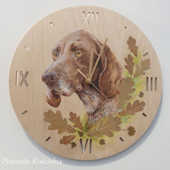 Painted clock Dog portrait Hand painted oil painting