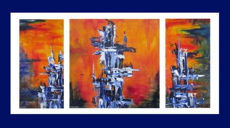 Buy Blue Totems - 2015 / Les Totems bleus, a Oil on Paper by Maryse Lapointe from Canada. It portrays: Abstract, relevant to:  blue,  orange,  sun,  fire, feu,  bleu,  totem,  triptyque,  emily carr,  soleil I was 9 years old when I saw my first totem and I thought it was alive, it had a voice, a language, stories to tell. One afternoon in June, just when I thought my work was done for that day, I was almost compelled to create on paper a strange blue structure. At first, I didn't know what…