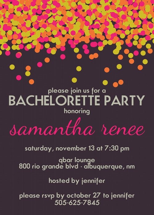 Kate Spade Inspired Neon Confetti Bachelorette Party Invitation. $12.00, via Etsy by JLCprintables (our best SELLER!)