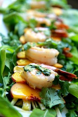 Shrimp, Peach and Fennel Salad ~ Perfect with those late summer peaches, the sweet shrimp, tart lime vinaigrette, and bright pop of fennel and cilantro make a lovely salad for lunch.