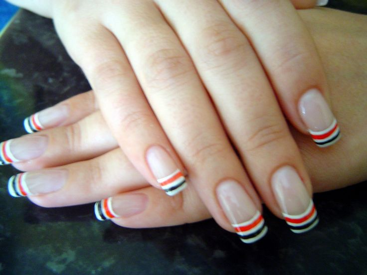 nail art ideas | Colored french nail art designs (red, black and white colors)
