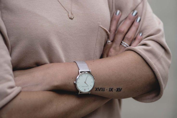roman numerals wedding date arm tattoo, small tattoos