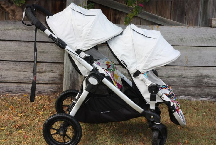 The Baby Jogger City Select: I've decided one quality stroller that will work as a single and a double is much better than paying for a couple cheap strollers and then a double later. Especially when dealing with carpal tunnel which makes carrying kids hard. The diamond stroller & 2nd seat is on sale now at www.albeebaby.com, if you're interested.     Those colored liners are homemade, not included with the strollers. (Another great idea to keep stroller nice.)