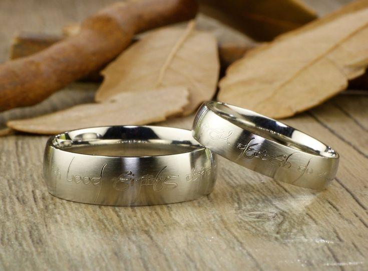 Custom Personalized Your words in Elvish Tengwar Lord of the Rings Matt Blue Wedding Anniversary Titanium Rings Set