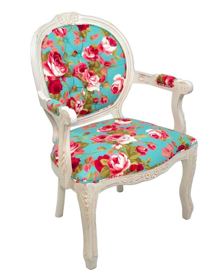 Cadeira Medalhão II Entalhada - Provençal Branca e Azul Florido