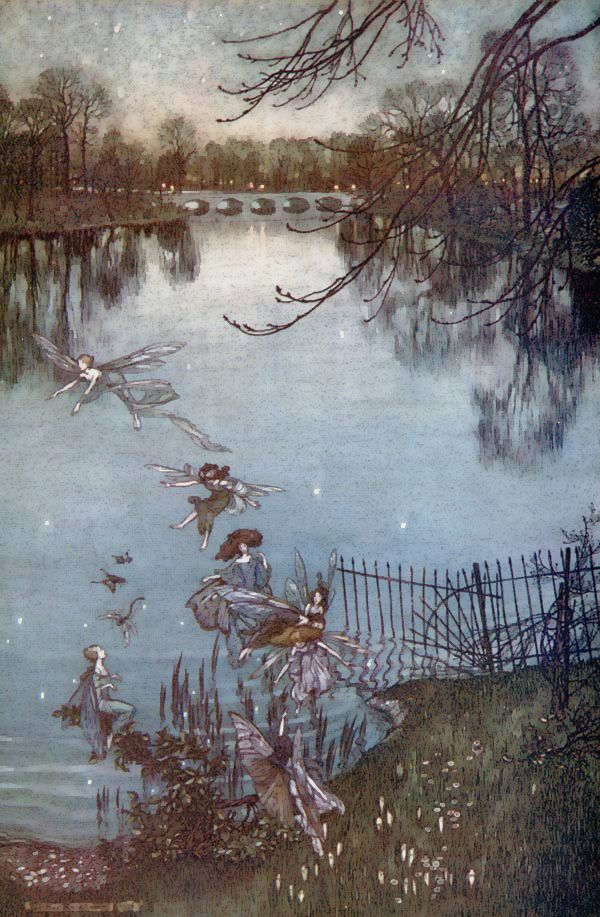 Arthur Rackham - Peter Pan in Kensington Gardens was originally part of an earlier work, The Little White Bird by J.M. Barrie. The Peter Pan chapters were extracted and published as a separate work in 1906. The color plates to Peter Pan in Kensington Gardens by Arthur Rackham made the book immediately popular, and drew attention to Rackham, who was not well-known before then.