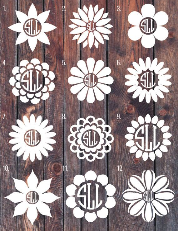 Flower Monogram decal, Monogram sticker, circle monogram, car decal.