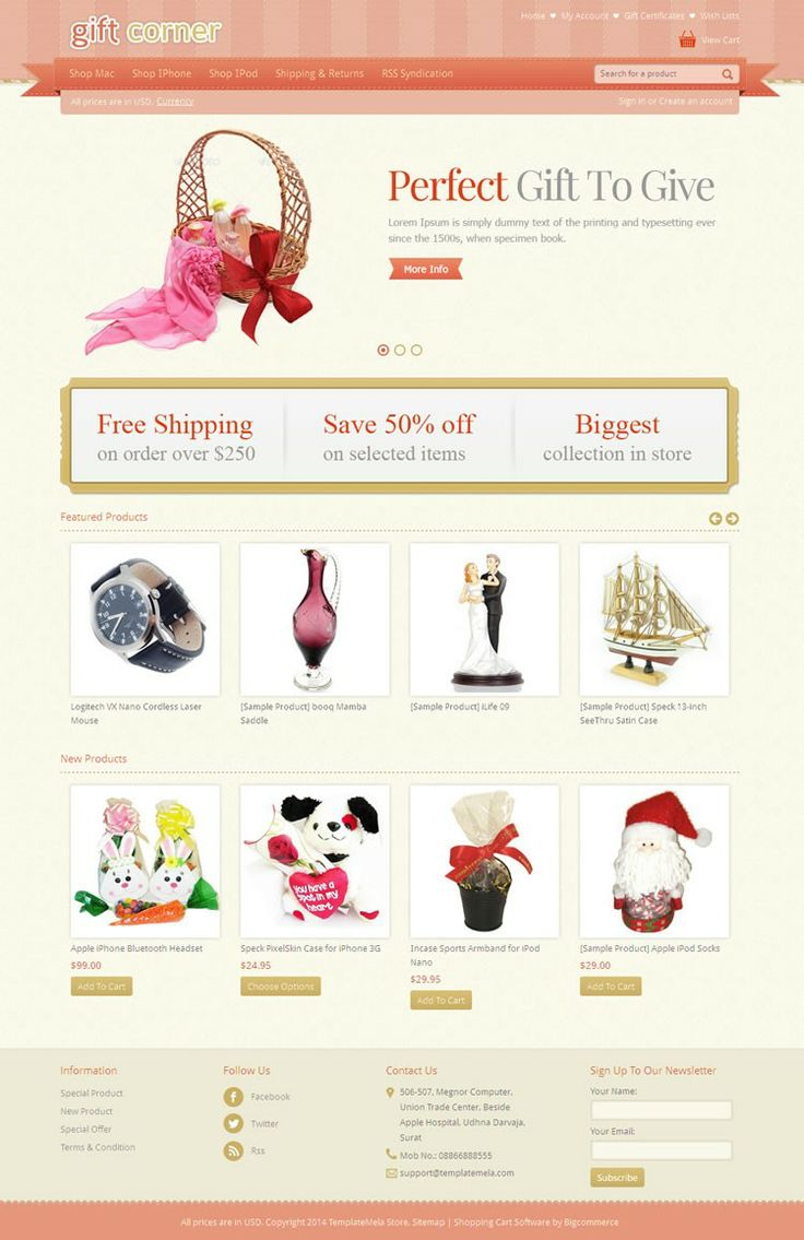 Gift Store BigCommerce Template is specially designed for gift and flower stores. Gift Store BigCommerce Template is looking good with it's colors combination. All sub pages are customized. It is very nice with its clean and professional look.