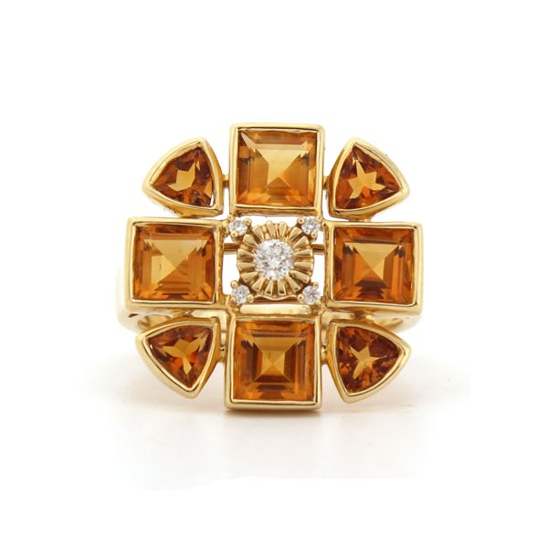 Sacred Flower Ring. 18kt Yellow Gold, Citrine and Dimaonds. available at Kate McCoy