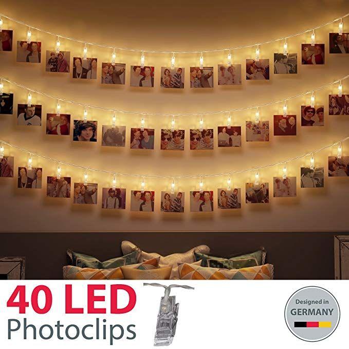 B K Light Led Photo Light Chain With 40 Led Photo Clips Amazon De Amazon De Kerst Decoratie Muur