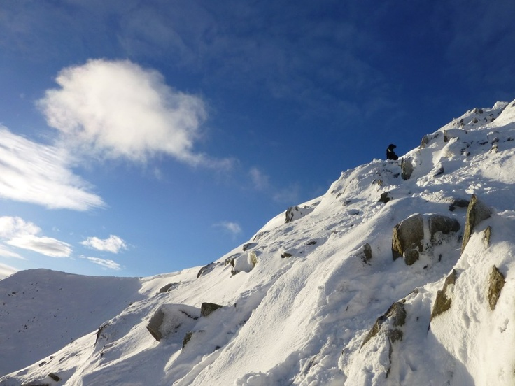 Going up Swirral Edge November 2012