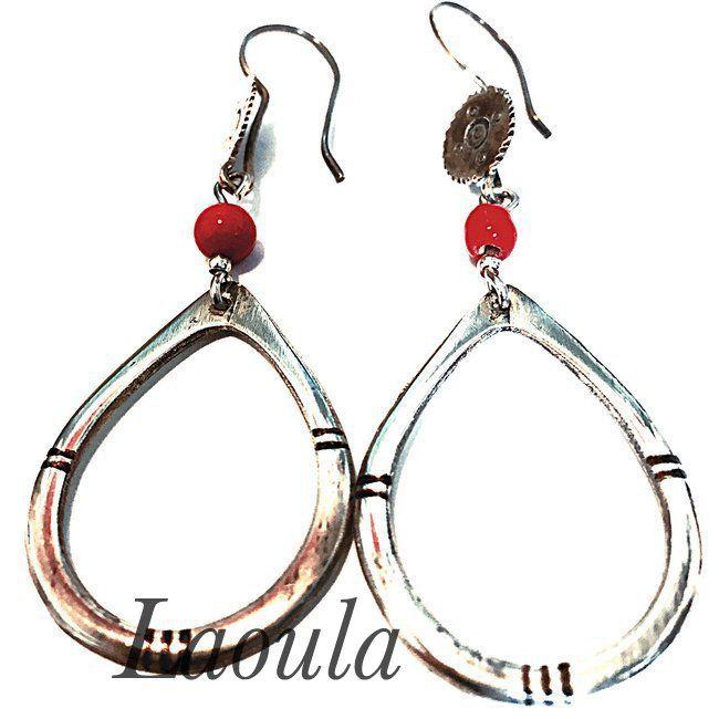 Boucles d'oreilles ethniques en argent ovale et agate, bijoux pas chers 256562.