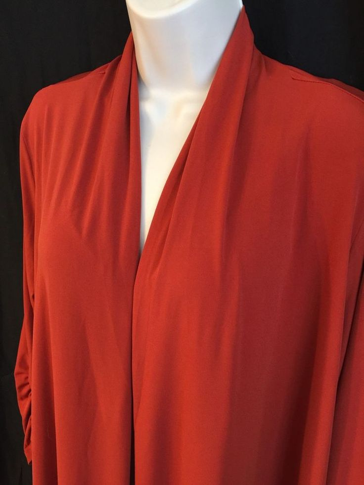Susan Graver Size 1X Liquid Knit Open Front Cardigan Ruched Sleeve Cayenne  | eBay