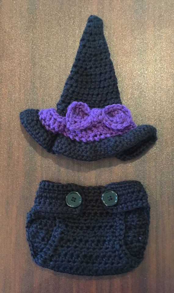 Crochet Baby Witch Hat and Diaper Cover, Crochet Baby Witch Set, Halloween Hat, Halloween Baby Witch Set-First Halloween-Witch