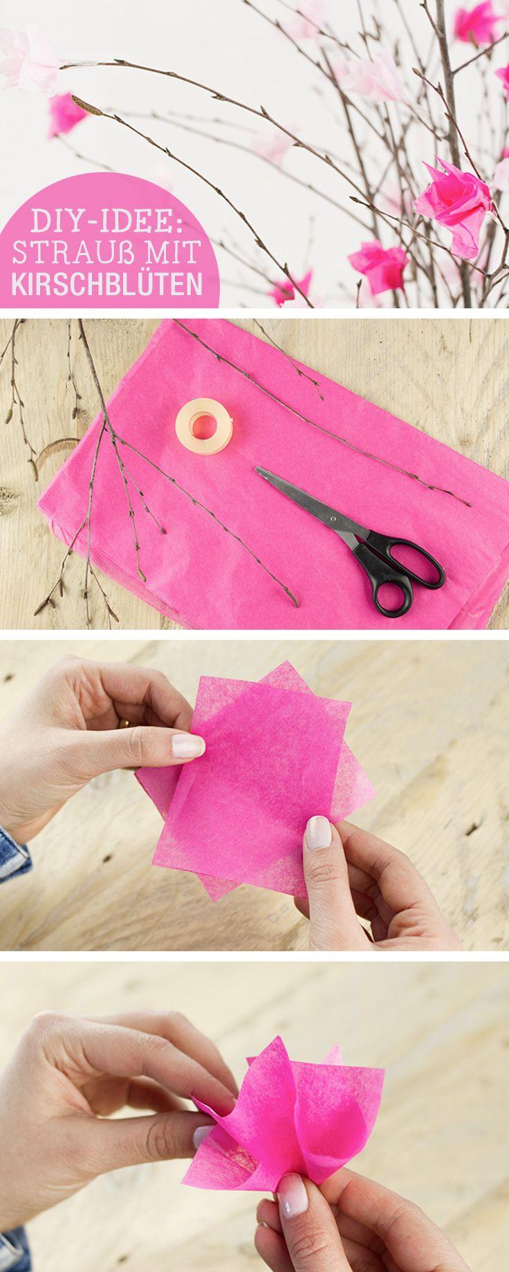 DIY-Anleitung: Osterstrauß mit Kirschblüten aus Papier verzieren / diy tutorial: decorate your easter flowers with handmade cherry blossoms, origami via DaWanda.com