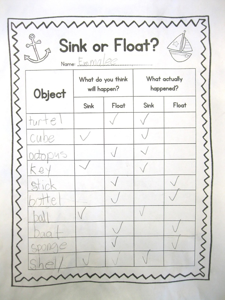 Sink or Float | Kindergarten Science | Pinterest