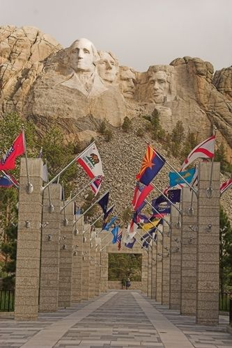 State Flags Leading to Mount Rushmore, South Dakota. This is where we went but unfortunately it was shrouded in mist