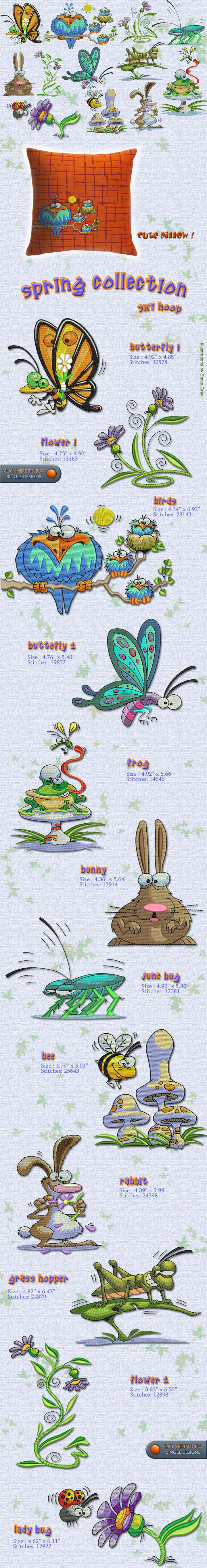 SPRING, BUGS, BUTTERFLY, BIRDS, FLOWERS Embroidery Designs Free Embroidery Design Patterns Applique
