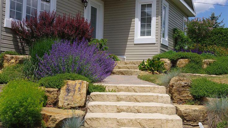 R alisation c t jardin en fa ade plani paysage for Paysage jardin exterieur