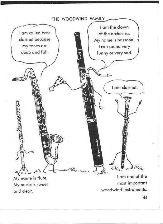 The Woodwind family - flute, bassoon, bass clarinet & Bb Clarinet