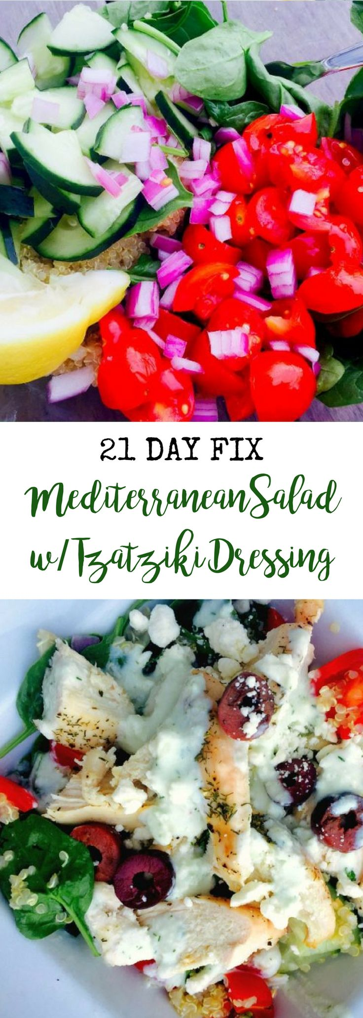21 Day Fix Mediterranean Salad with Tzatziki Dressing | Confessions of a Fit Foodie