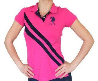New U.s. Polo Assn. Women's Pink Double Stripe Gold Polo Shirt (M) U.S. Polo Assn.. $27.99
