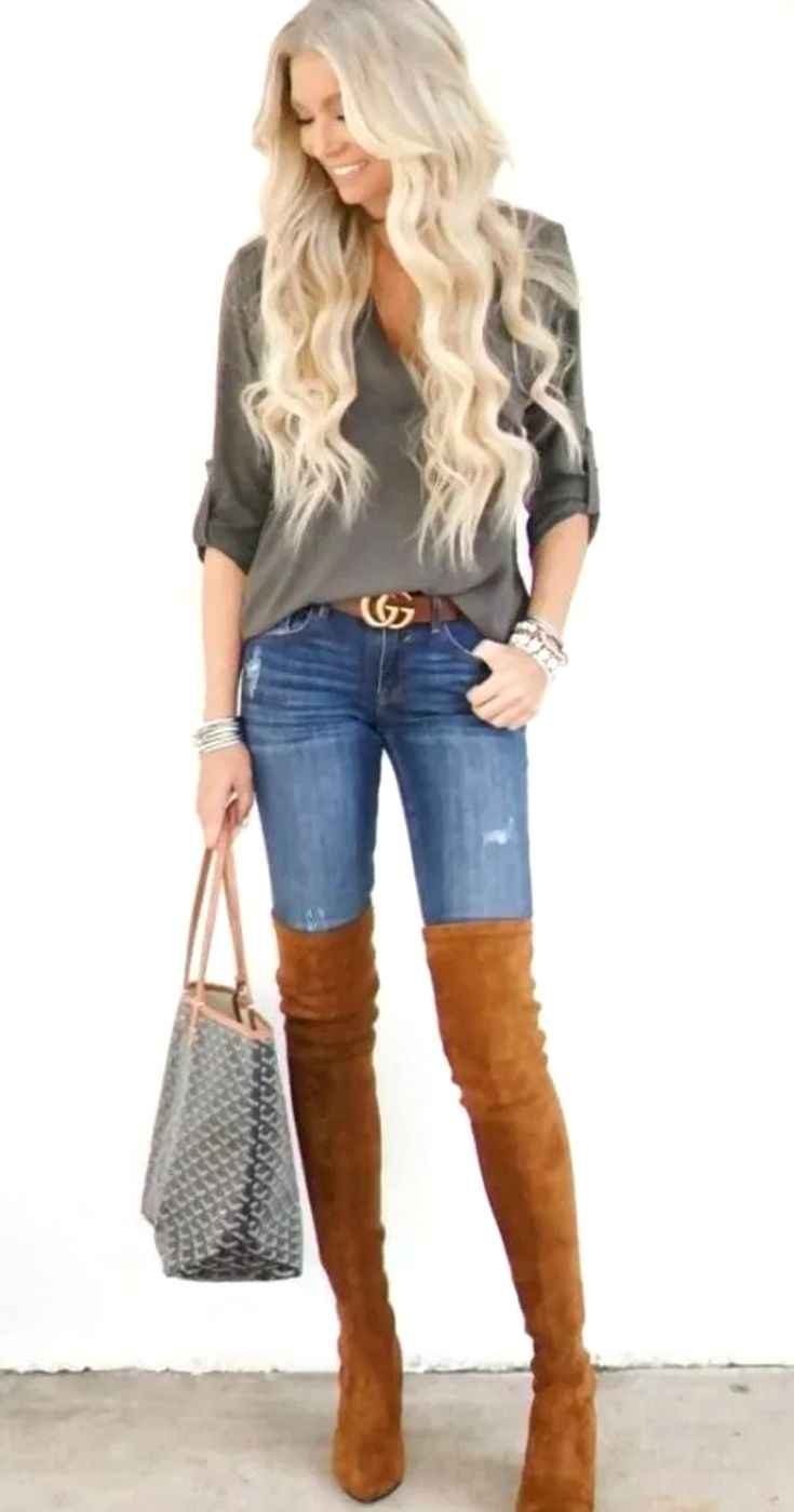 Women's Denim Jeans Outfit With Brown Over The Knee Boots