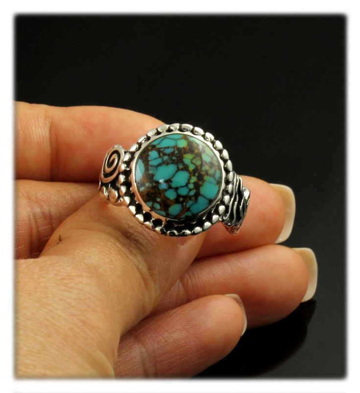 Spider Web Turquoise Rock Art Ring by John Hartman