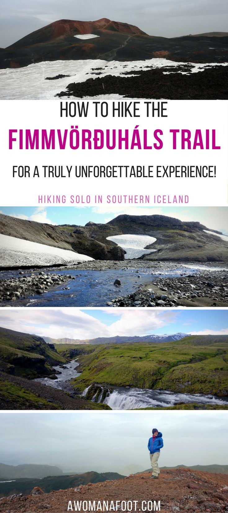 The Fimmvörðuháls trail in southern Iceland is a challenging and stunningly beautiful hiking path leading through the Land of Fire and Ice. | #Hiking in #Iceland | Skogar | #Thorsmork | Iceland Travel |  #Solo #travel | #glacier |#vulcano Awomanafoot.com